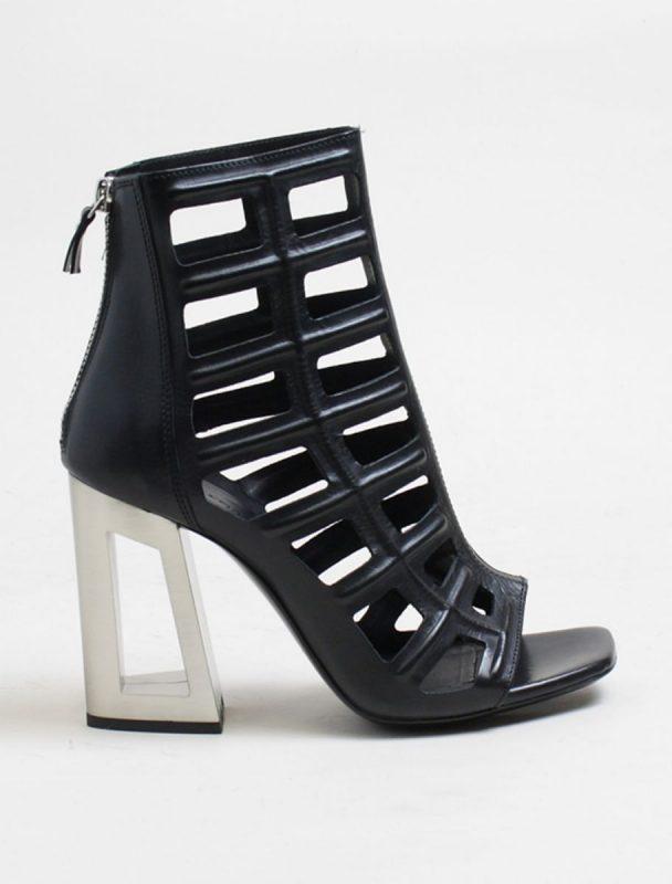 Vic Matiè sandalo gabbia nero con tacco forato acciaio