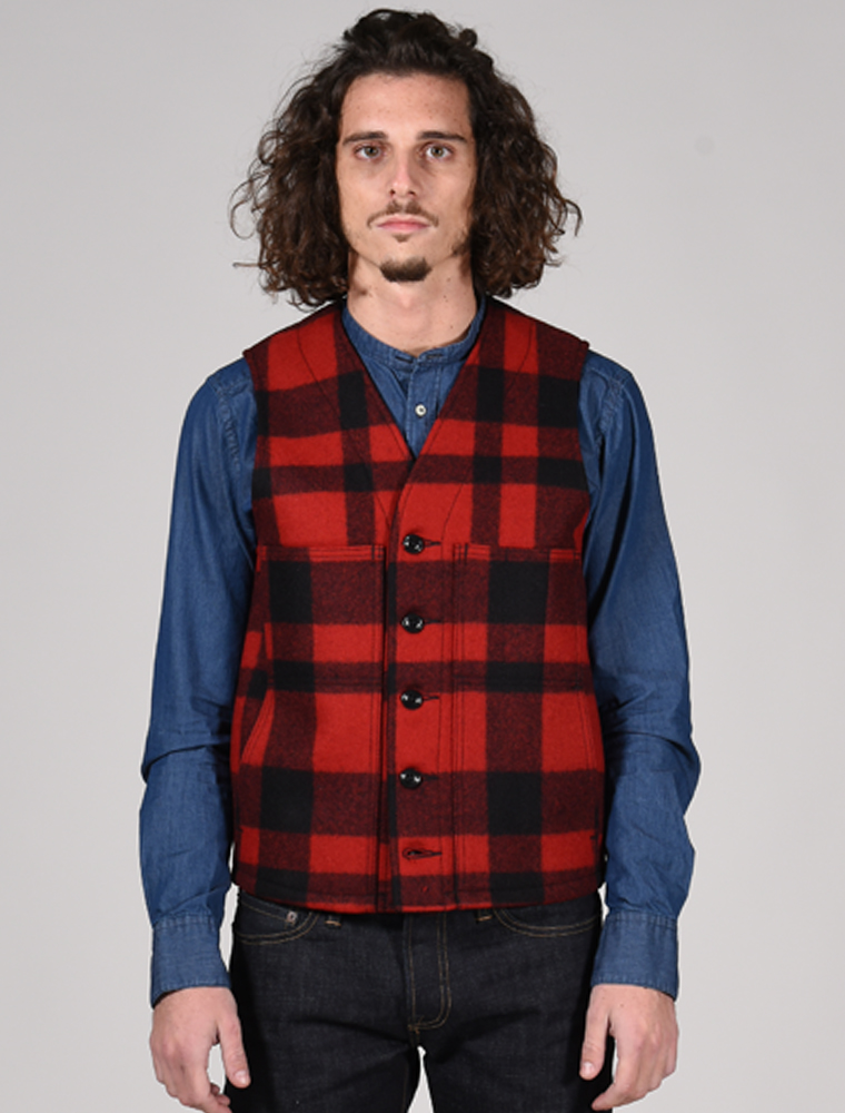 Filson Mackinaw wool vest Red Black plaid