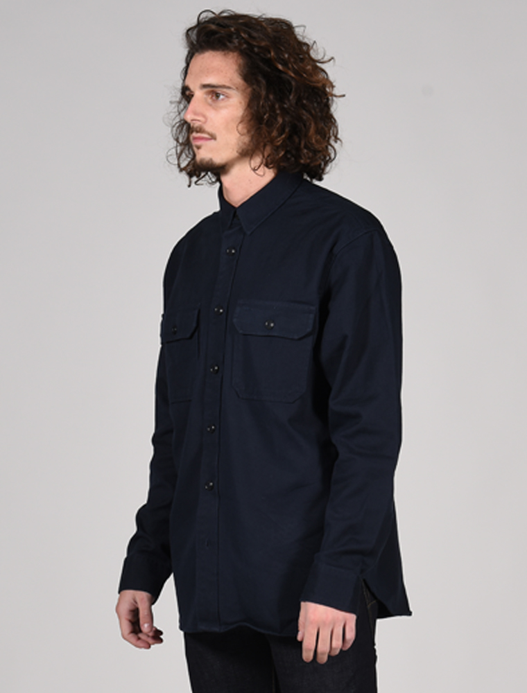Filson 6-oz. Drill Chino shirt Storm Navy 3-4 front