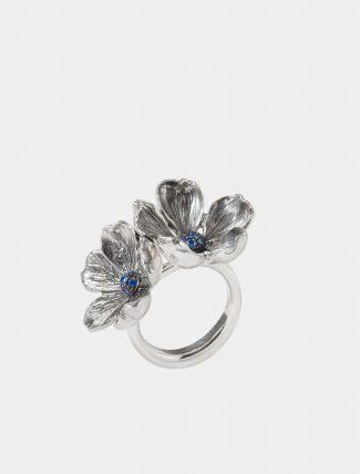 Anello Mandorlo doppio in argento con pavet di zirconi