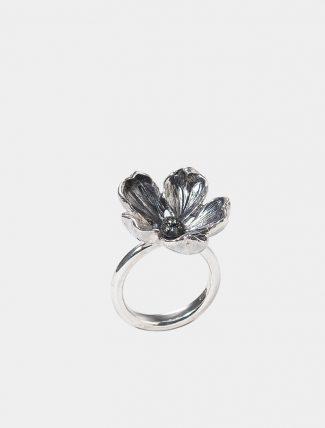 Anello Mandorlo grande in argento con pavet di zirconi
