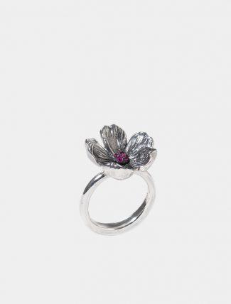 Anello Mandorlo piccolo in argento con pavet di zirconi
