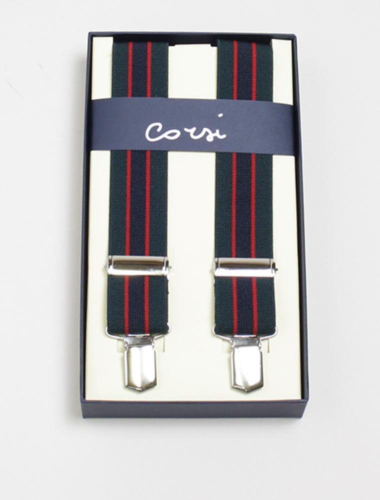 Corsi green braces red/blu stripes