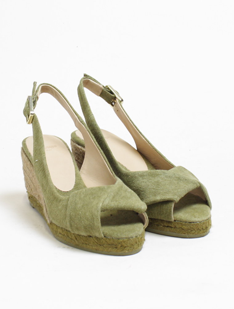 new styles f687e 81e0c Castaner Peep-toe wedge espadrille military green