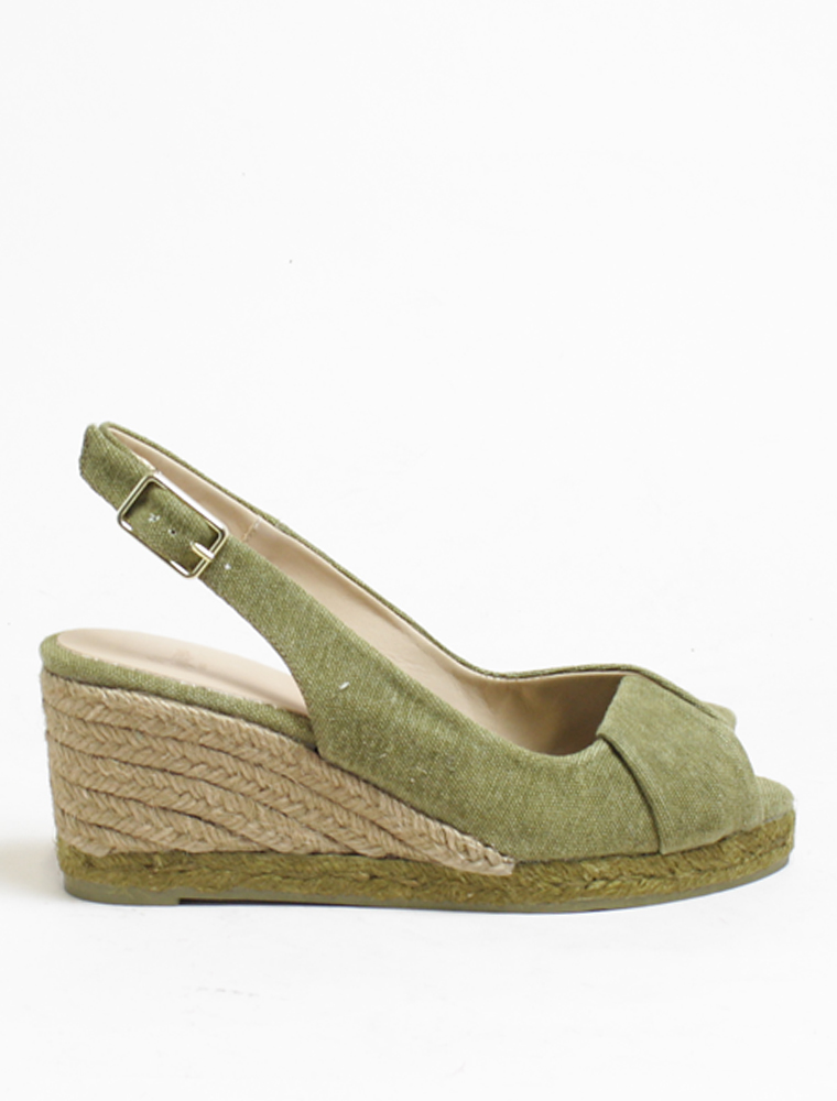 Castaner Peep-toe wedge espadrille military green