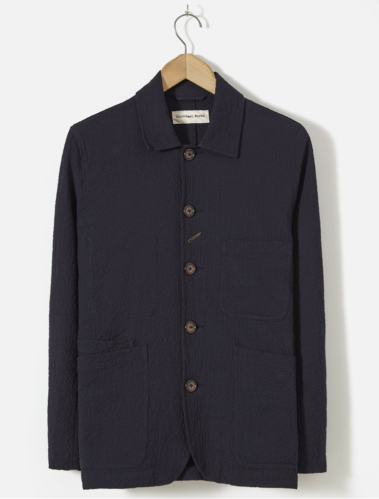 Universal Works Bakers Jacket Seersucker Navy