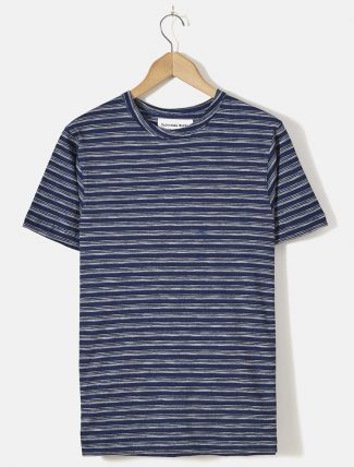 Universal Works Stripe Tee Jersey Indigo