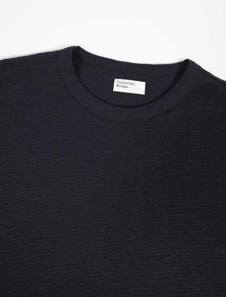 Universal Works Crew Neck Summer Waffle Navy collo