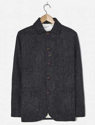 Universal Works Bakers Jacket Harris Tweed Charcoal