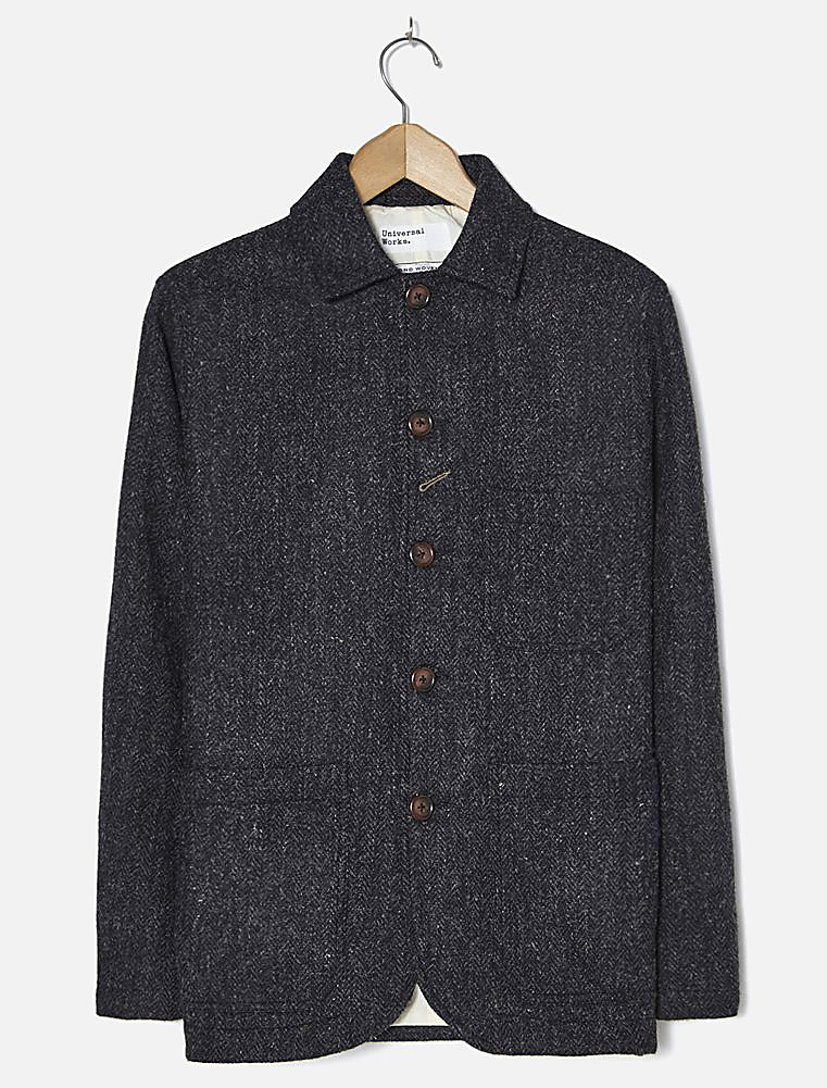 Universal Works Bakers Jacket Harris Tweed Charcoal
