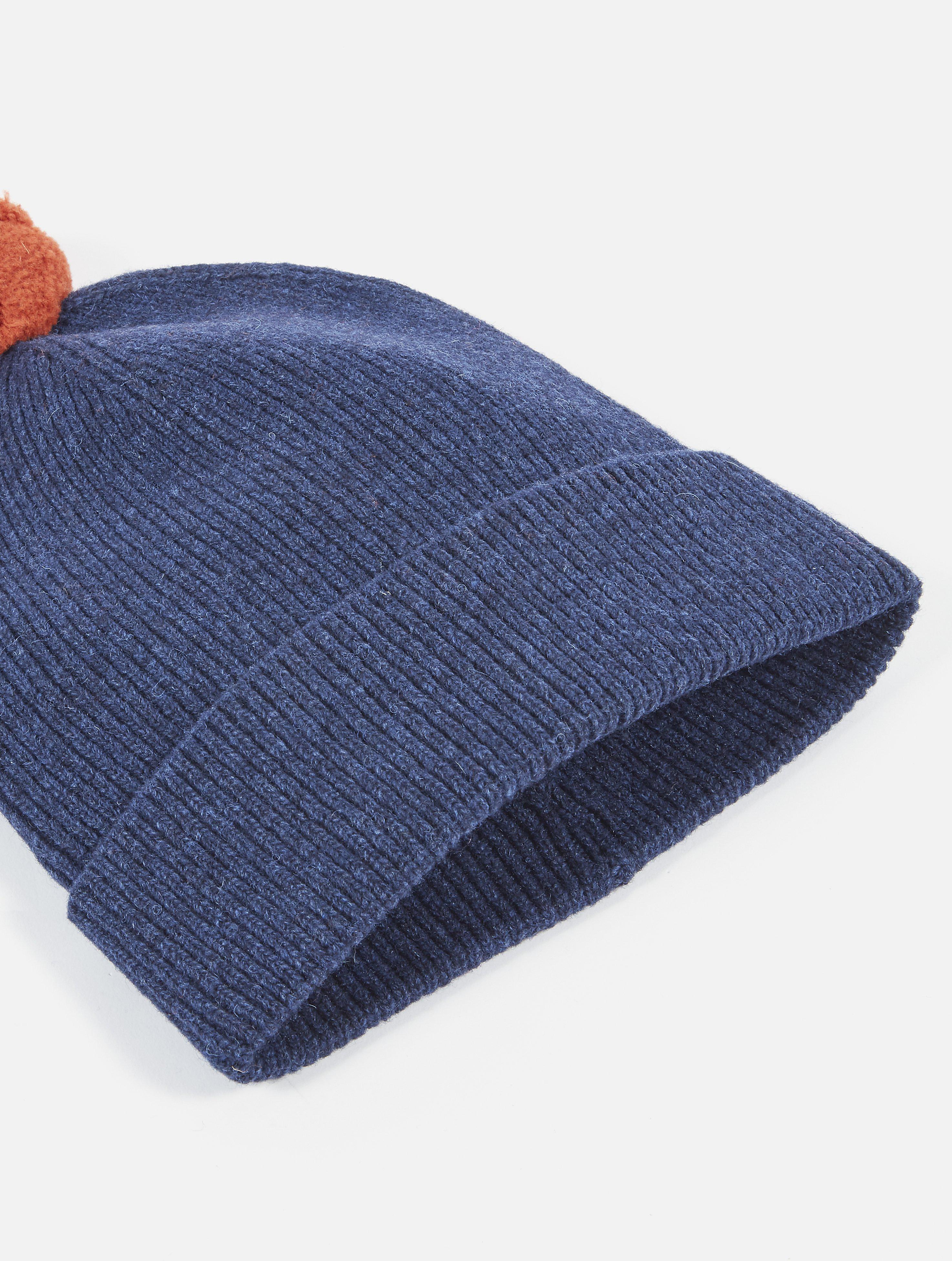 Universal Works Bobble Hat Rib Knit Navy dettaglio