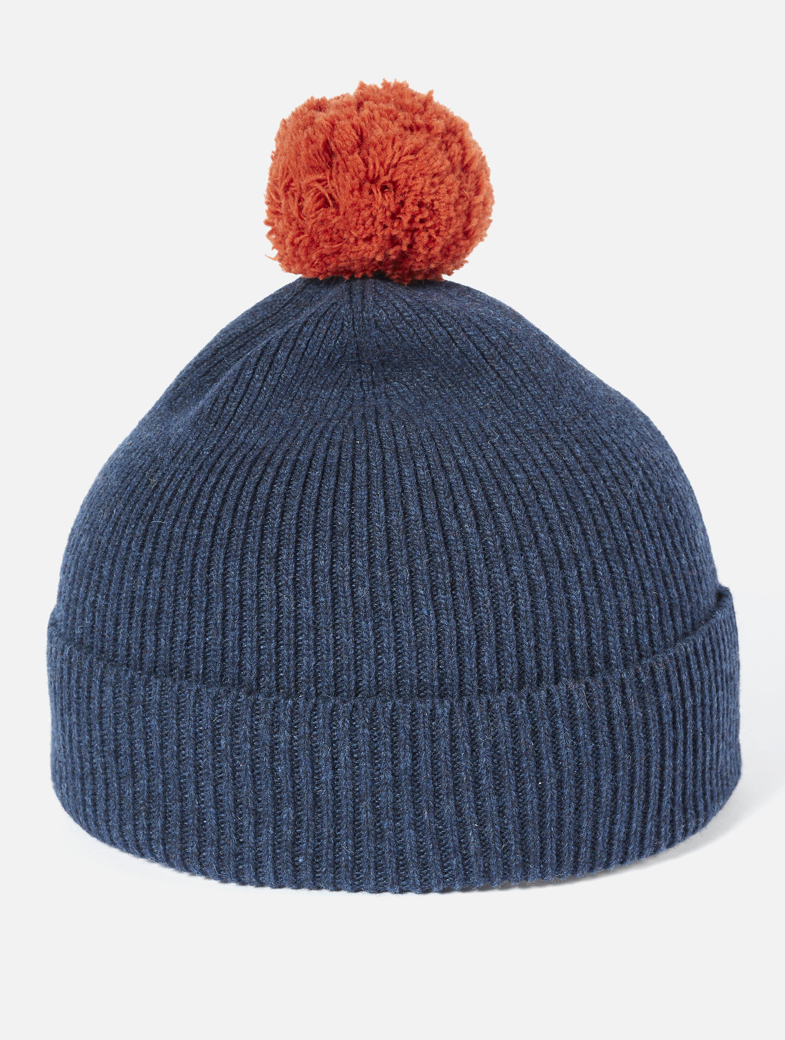 Universal Works Bobble Hat Rib Knit Navy
