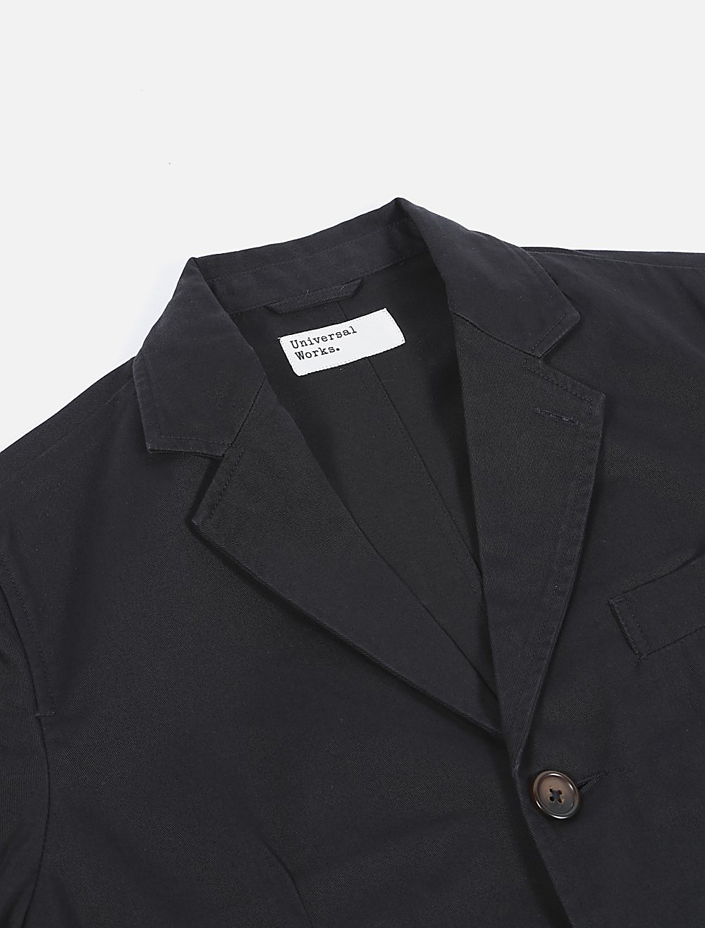 Universal Works London Jacket Twill Black dettaglio collo