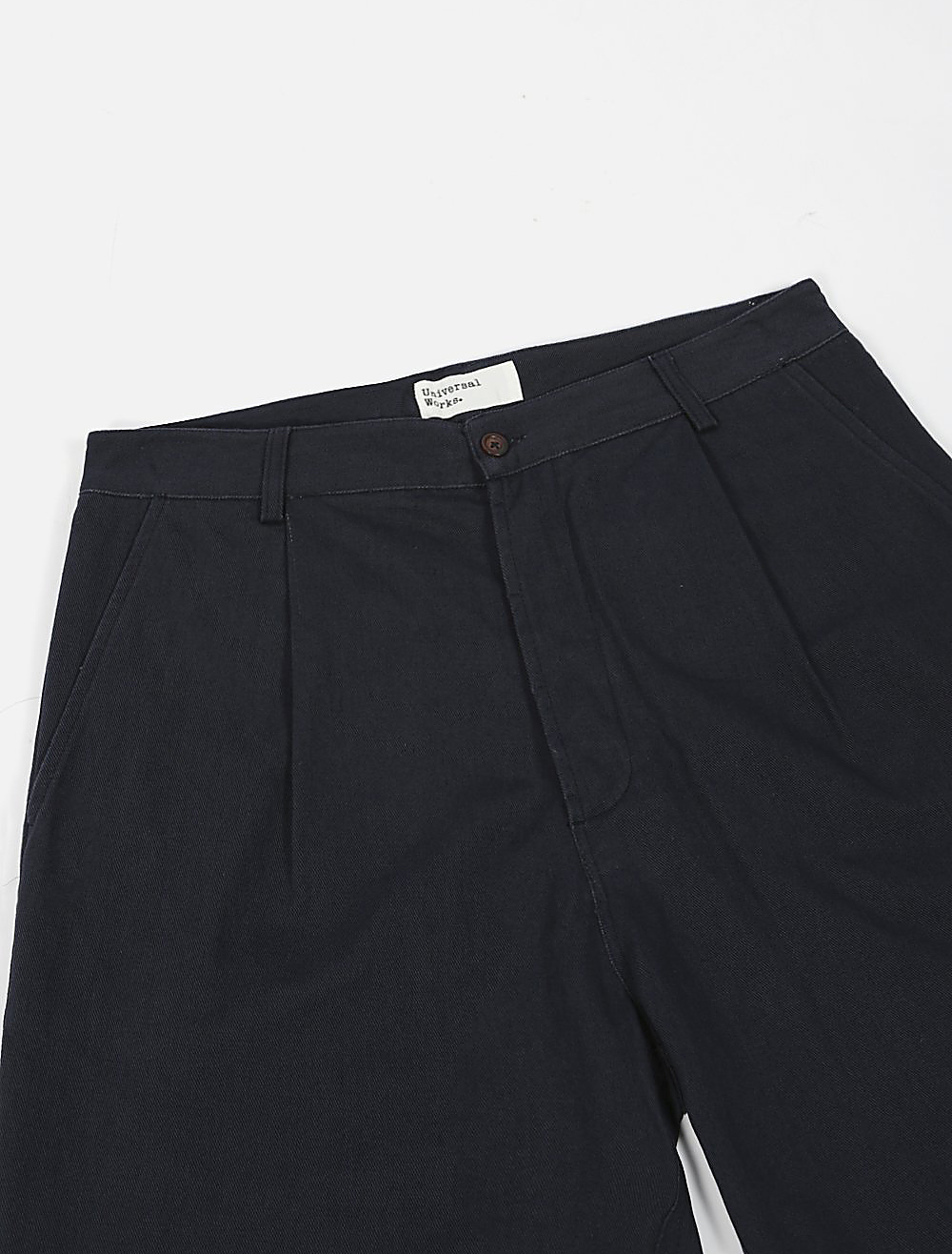 Universal Works Plated Pant Soft Winter Twill Navy dettaglio