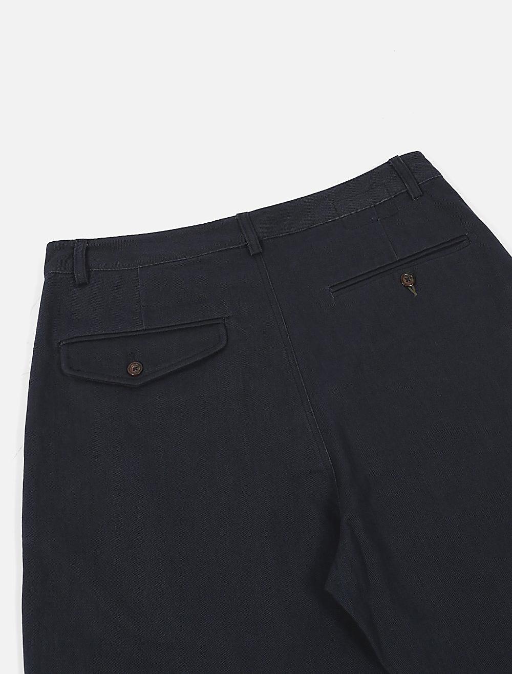 Universal Works Plated Pant Soft Winter Twill Navy dettaglio tasche