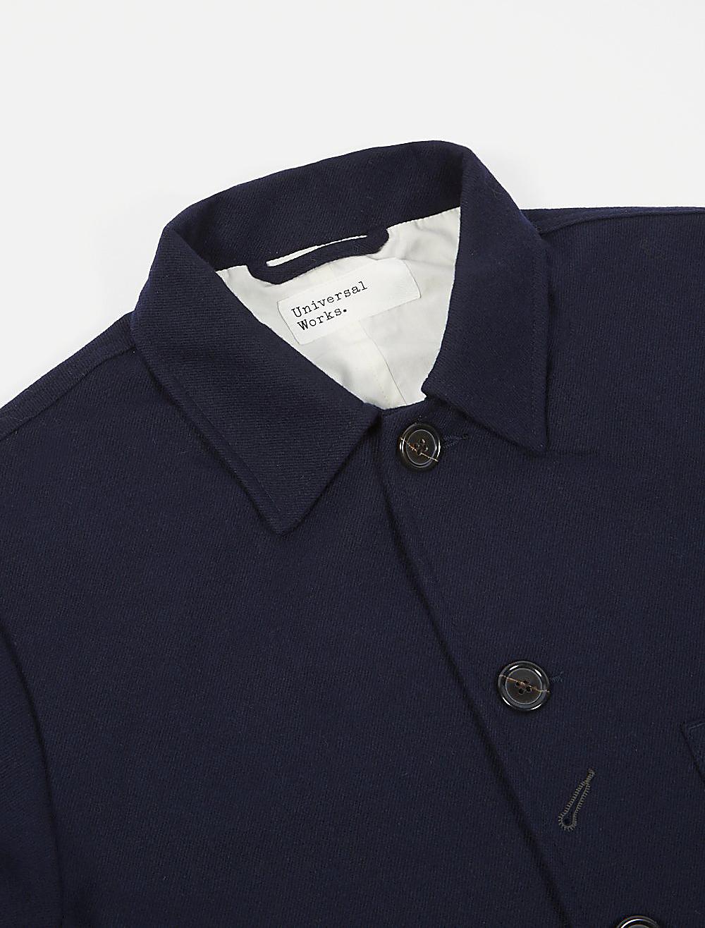 Universal Works Bakers Jacket Twill Wool Navy dettaglio collo
