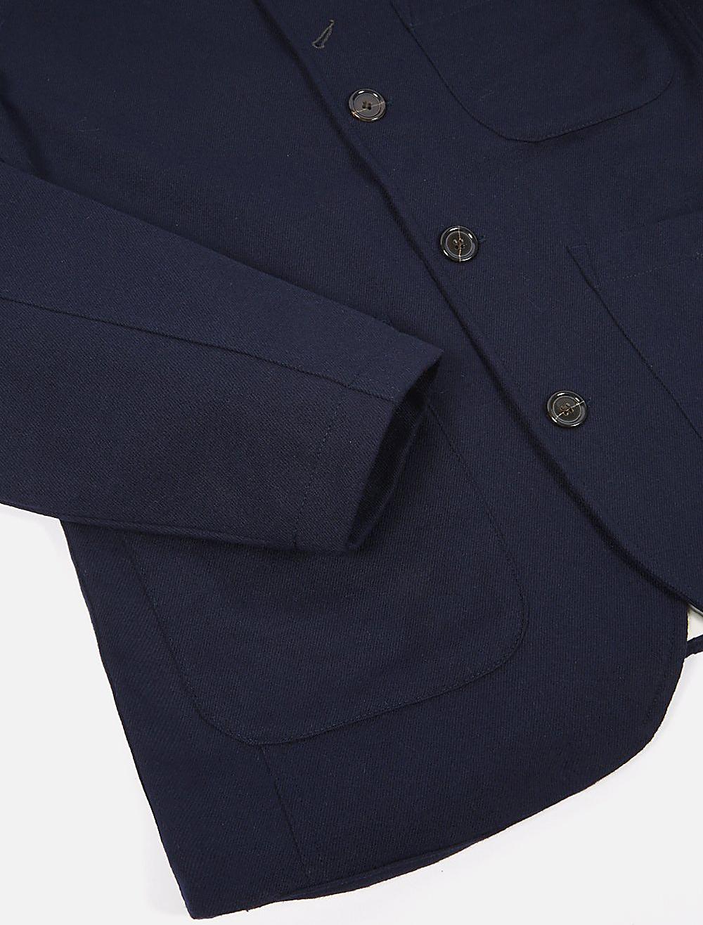 Universal Works Bakers Jacket Twill Wool Navy dettaglio manica