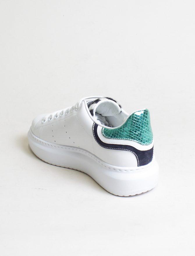 D'Acquasparta sneakers Court High W Seta bianco acquamarina laterale