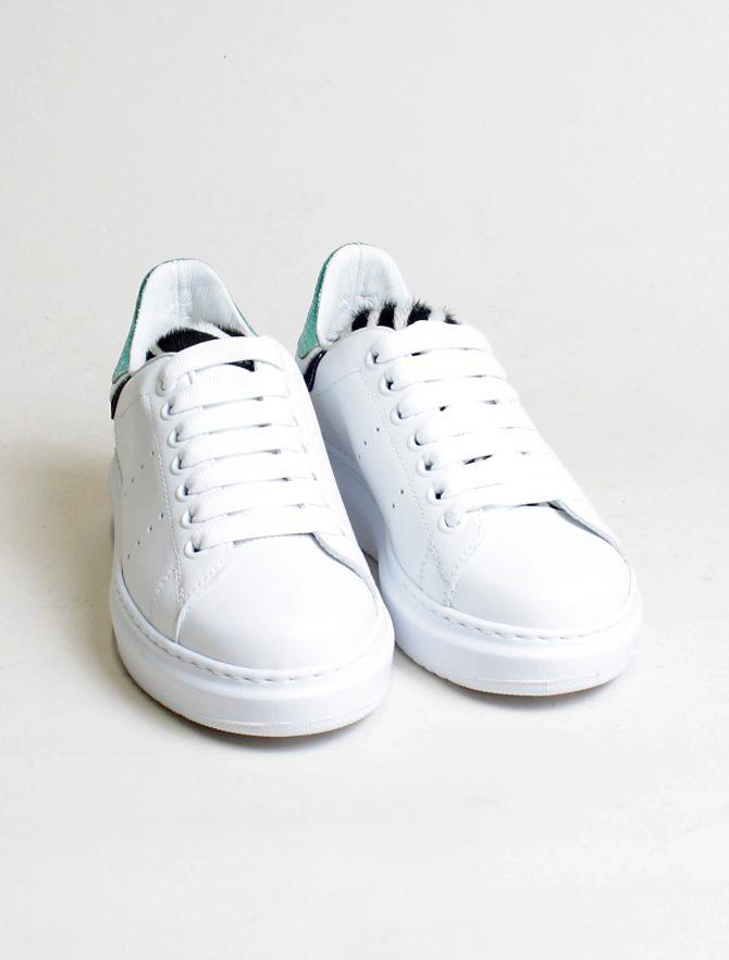 D'Acquasparta sneakers Court High W Seta bianco acquamarina paio