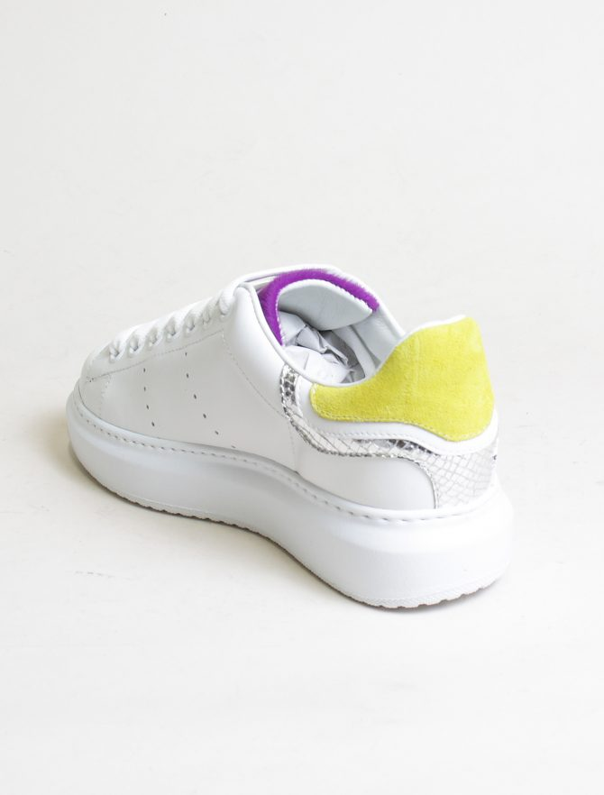D'Acquasparta sneakers Court High W Seta bianco twitty laterale