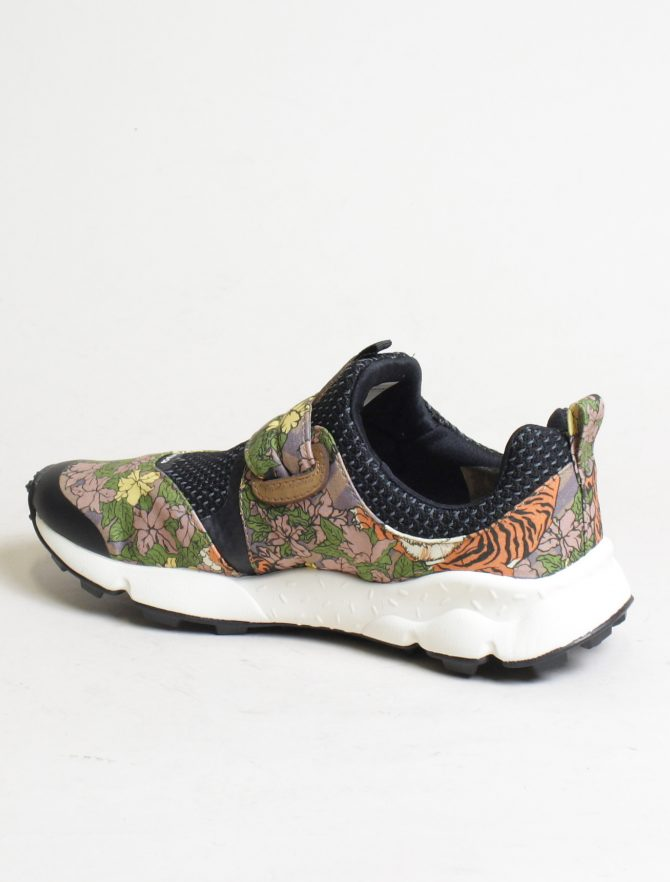 Flower Mountain sneakers Pampas 2 woman canvas tiger print marrone laterale