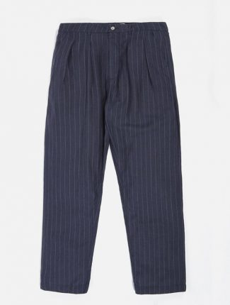 Universal Works Double Pleat Pant Linen wool Stripe Blue