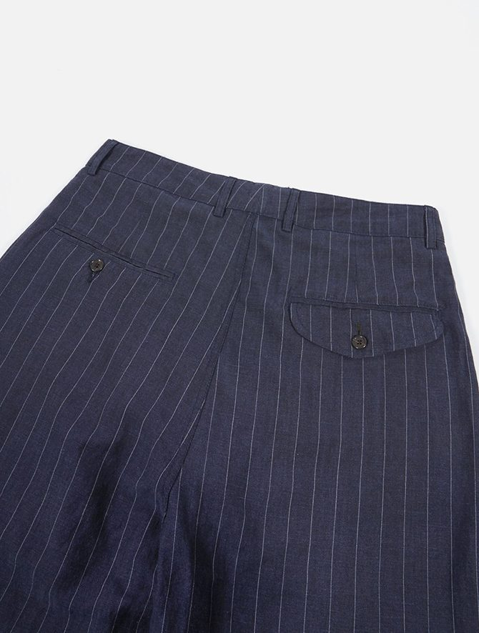 Universal Works Double Pleat Pant Linen wool Stripe Blue dettaglio dietro