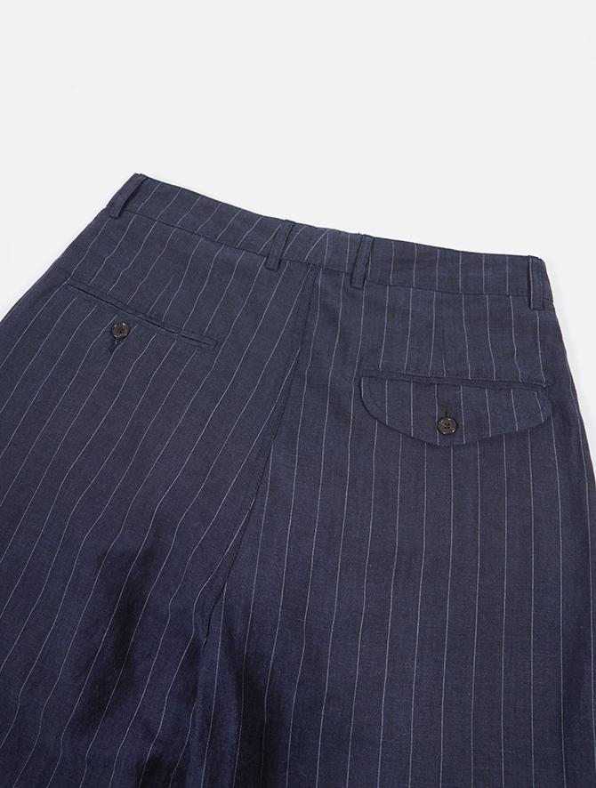 Universal Works Double Pleat Pant Linen wool Stripe Blue dettaglio dietro