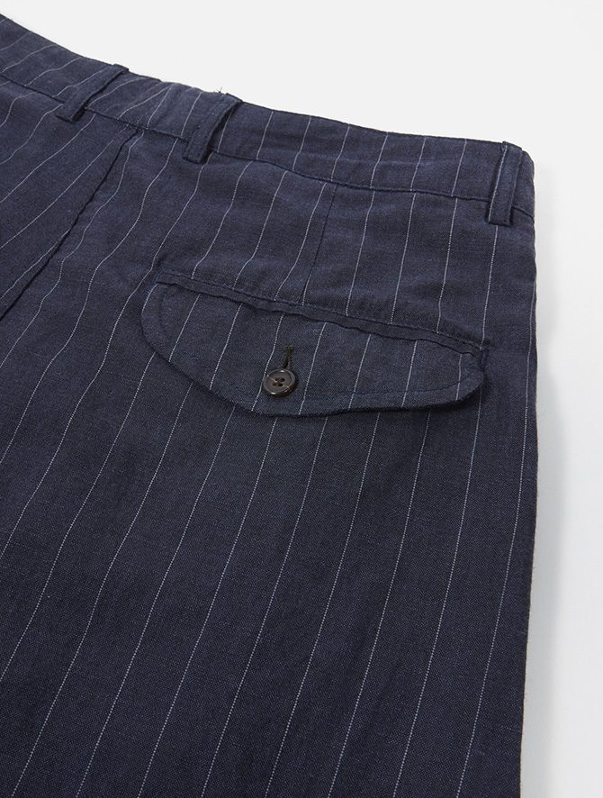 Universal Works Double Pleat Pant Linen wool Stripe Blue dettaglio tasca