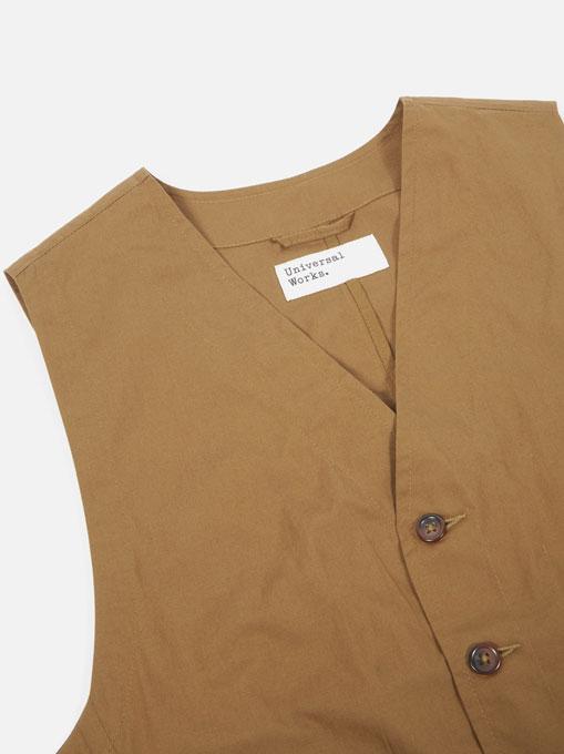 Universal Works Field Waistcoat poplin Khaki collo