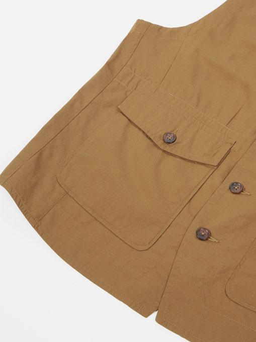 Universal Works Field Waistcoat poplin Khaki tasca