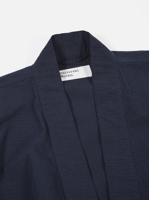 Universal Works Kyoto Work Jacket cotton ripstop Navy dettaglio collo