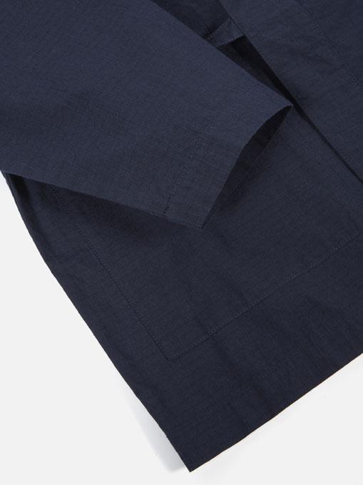 Universal Works Kyoto Work Jacket cotton ripstop Navy dettaglio manica