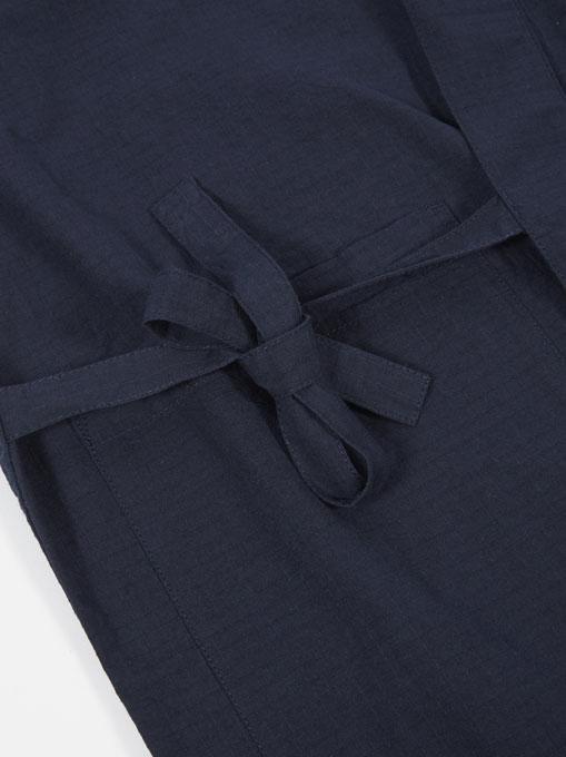 Universal Works Kyoto Work Jacket cotton ripstop Navy dettaglio nodo