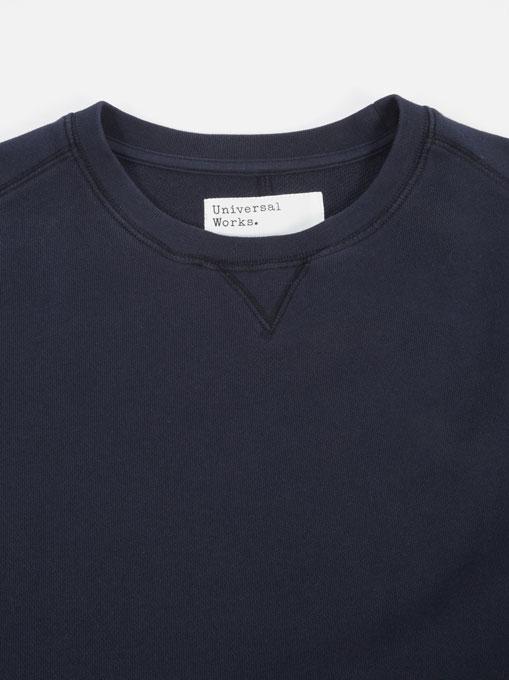 Universal Works Oversized Sweatshirt Loopback Navy collo