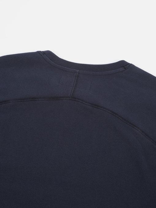Universal Works Oversized Sweatshirt Loopback Navy collo dietro