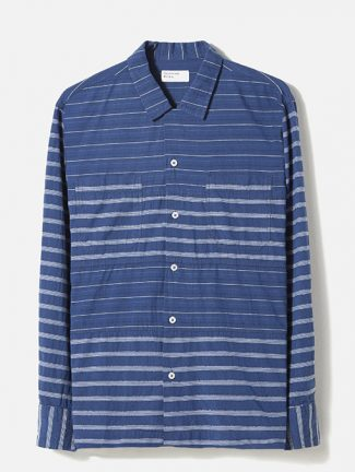 Universal Works Panel Shirt Midnight Stripe Mix