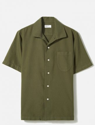 Universal Works Open Collar Shirt Oxford light olive