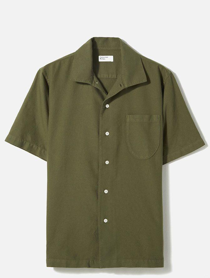 Universal Works Open Collar Shirt Oxford light olive