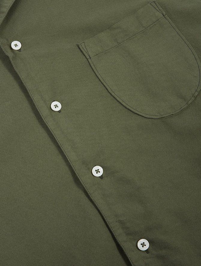 Universal Works Open Collar Shirt Oxford light olive dettaglio tasca