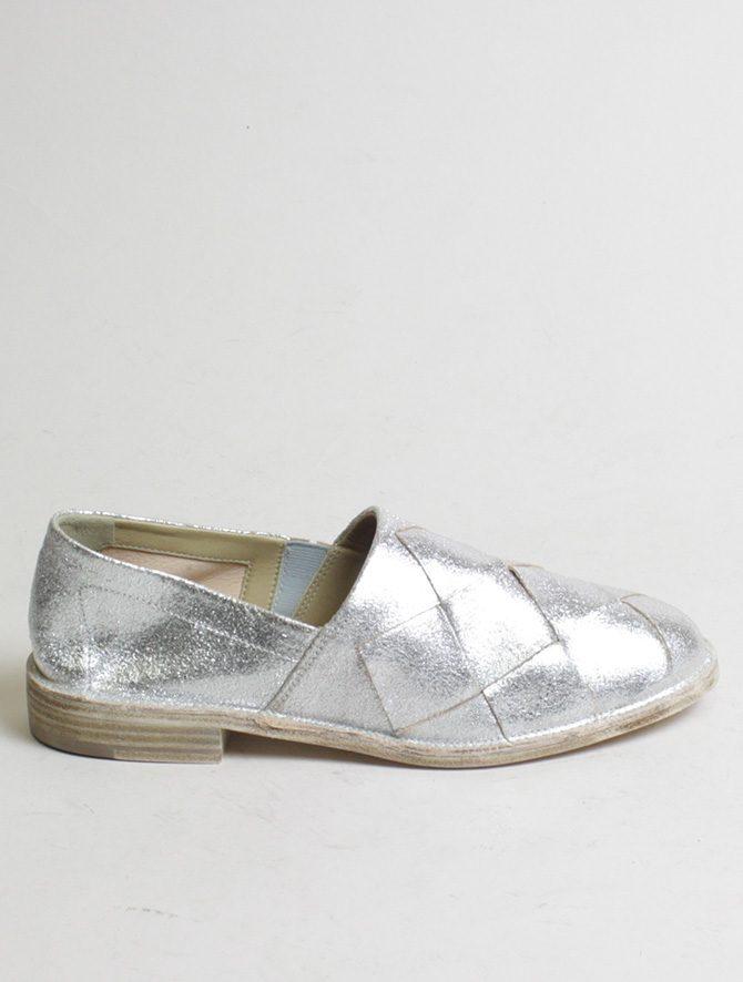 Vic Matiè pantofola intrecciata laminato argento