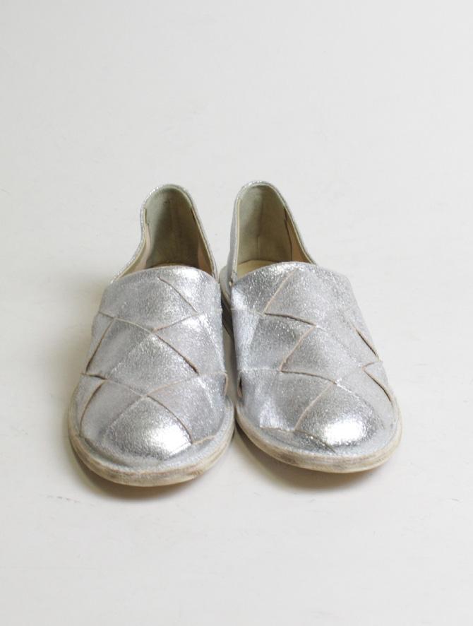 Vic Matiè pantofola intrecciata laminato argento dettaglio frontale