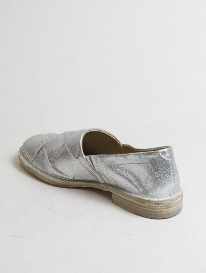 Vic Matiè pantofola intrecciata laminato argento dettaglio laterale