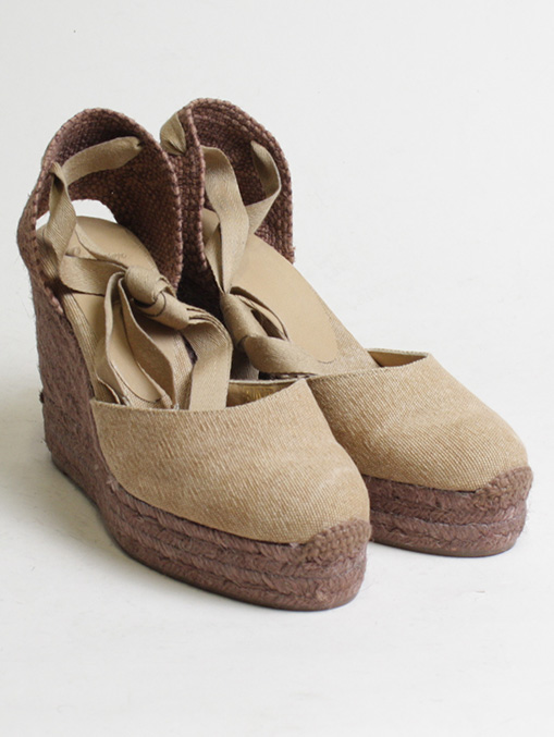 Castaner cotton canvas brown wedge 11cm pair