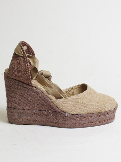 Castaner cotton canvas brown wedge 11cm