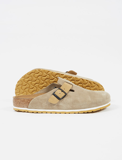 Universal Works x Birkenstock Boston in Taupe Sand Suede