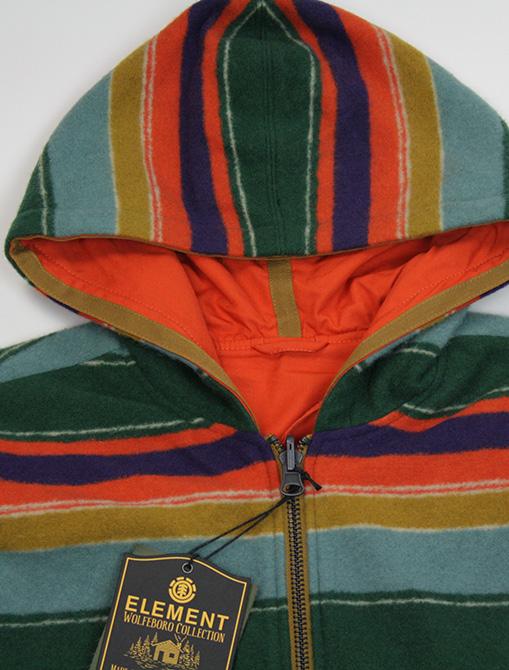 Nigel Cabourn x Element Alder Blanket Fleece Multicolor side 2 dettaglio cappuccio