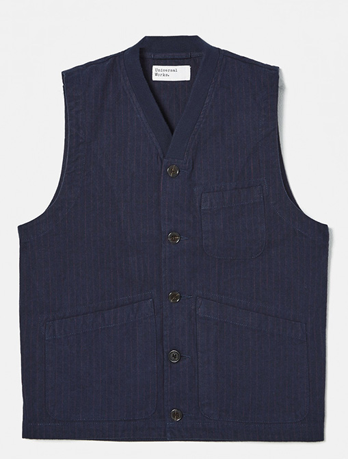 Universal Works Brixton Waistcoat Cotton Pinstripe Navy