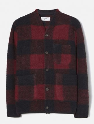 Universal Works Cardigan Check Wool Fleece Red