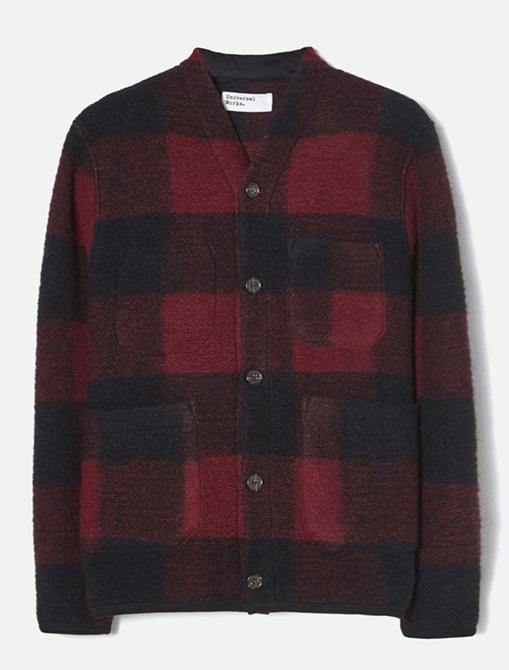 Universal Works Cardigan Check Wool Fleece Red